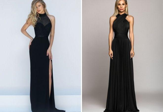 шикарное черное платье в пол