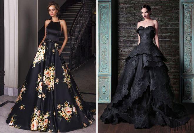 черное пышное платье в пол