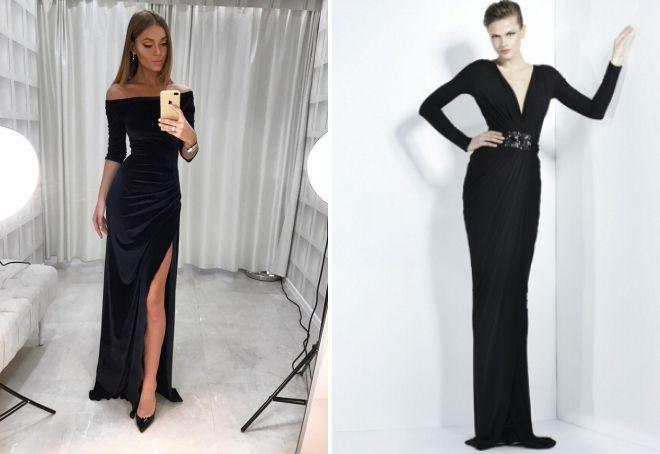 черное бархатное длинное платье