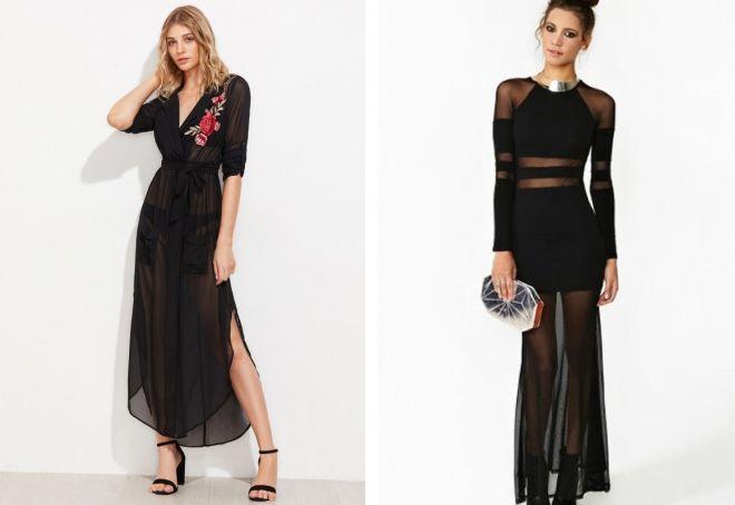 красивые длинные черные платья в пол