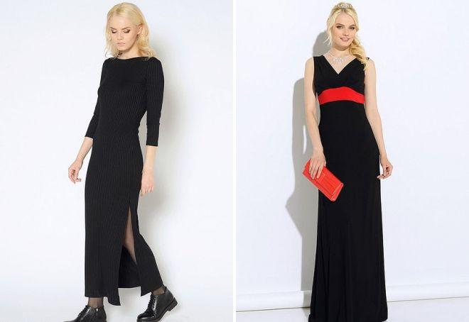 черное длинное трикотажное платье
