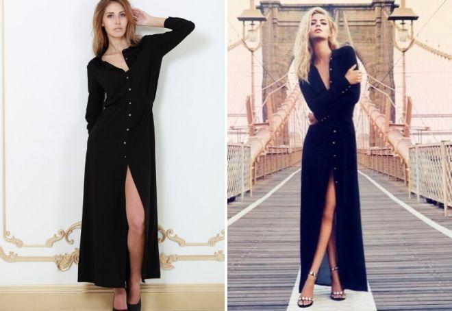длинное черное платье рубашка
