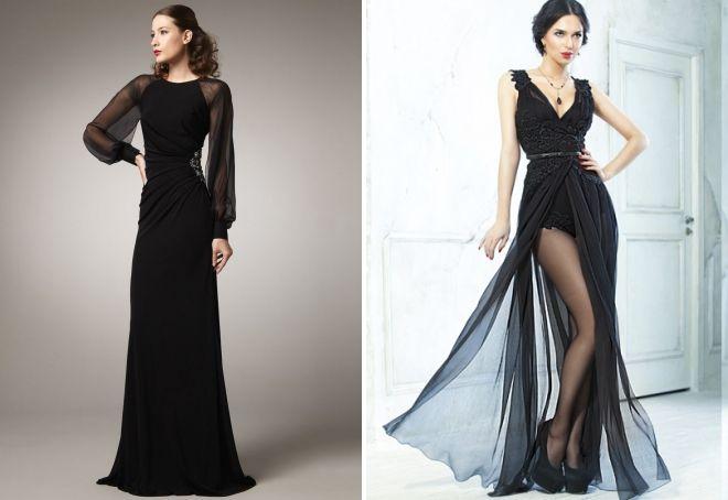 черное шифоновое платье в пол