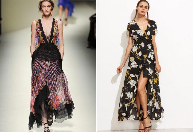 длинное черное платье с цветочным принтом