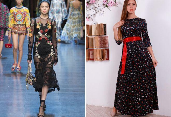 черное длинное платье в цветочек