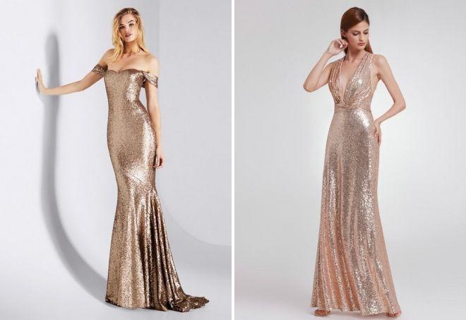 блестящие длинные вечерние платья