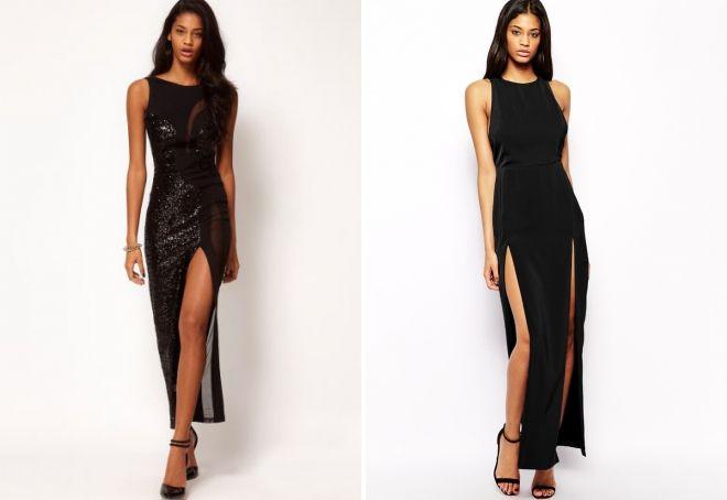 черные длинные вечерние платья