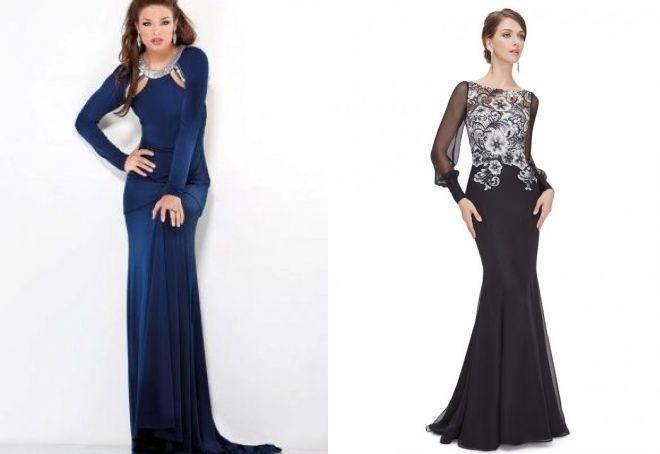 длинные вечерние платья с рукавами