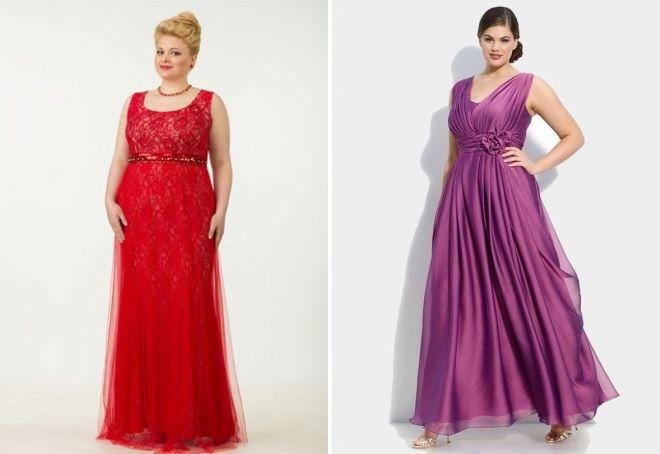 вечерние длинные платья для полных женщин