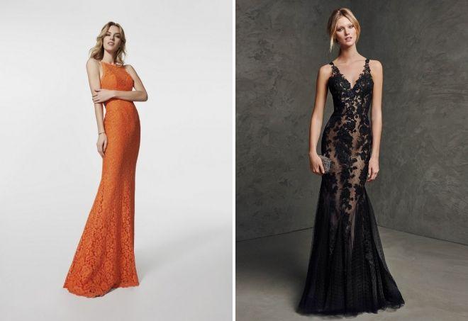 кружевные длинные вечерние платья
