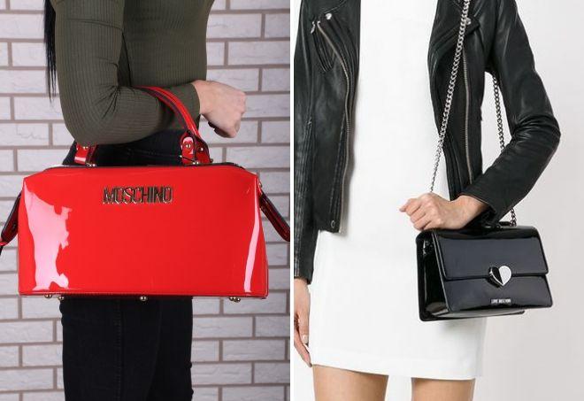 лаковая сумка Love Moschino