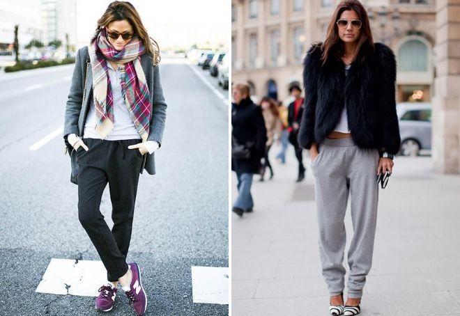 с чем носить женские джоггеры зимой