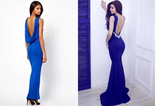 красивые синие платья в пол