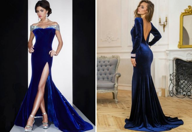 синее бархатное платье в пол