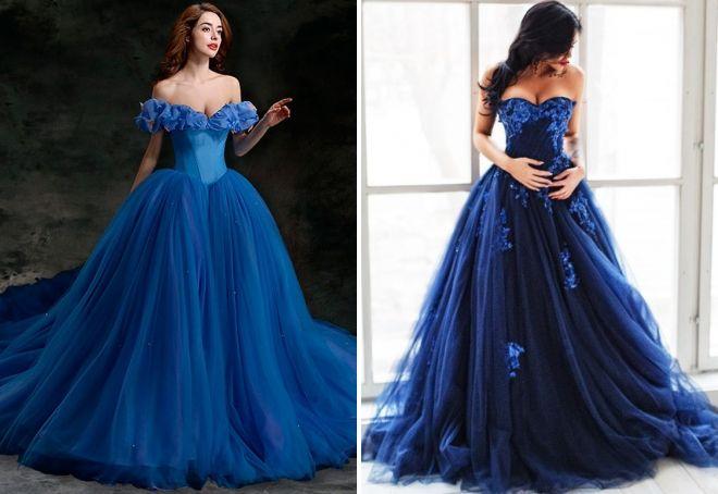 синее пышное платье в пол