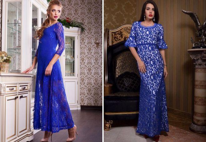 синее платье в пол гипюр