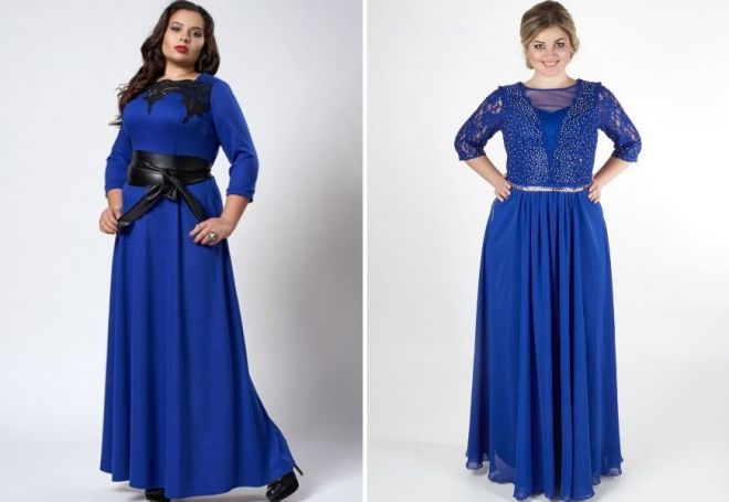 синее длинное платье для полных