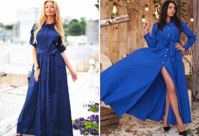 модное синее платье в пол