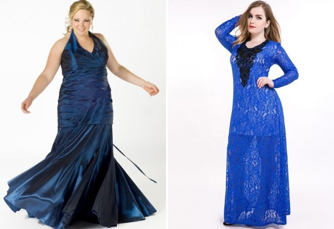 синее платье в пол для полных