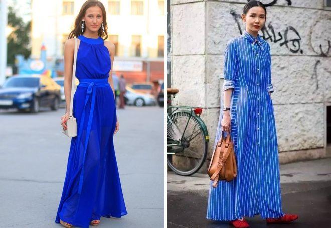 с чем носить длинное синее платье
