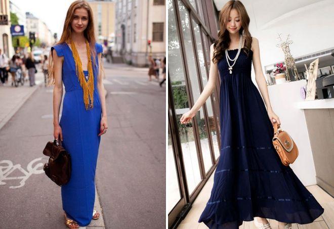 украшения к длинному синему платью