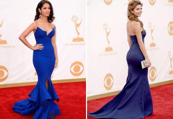 прическа под синее платье в пол