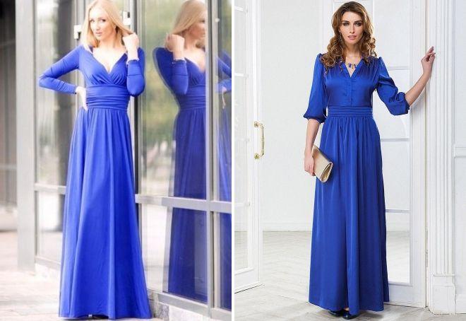 синее платье в пол с рукавами