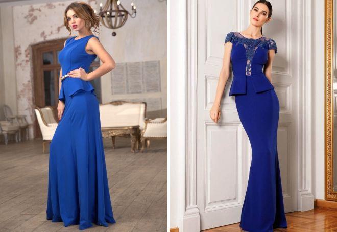 синее платье в пол с баской
