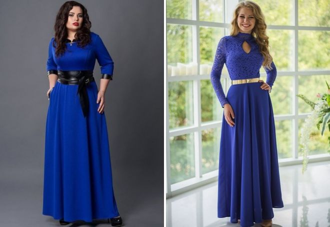 длинное синее платье с поясом