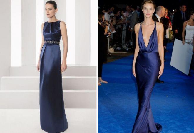 вечерне синее платье в пол
