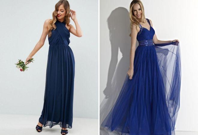 вечернее платье в пол синего цвета