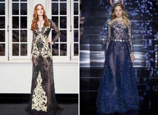 модное вечернее платье с длинным рукавом