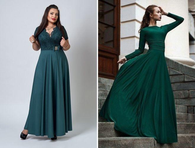зеленое вечернее платье с длинным рукавом