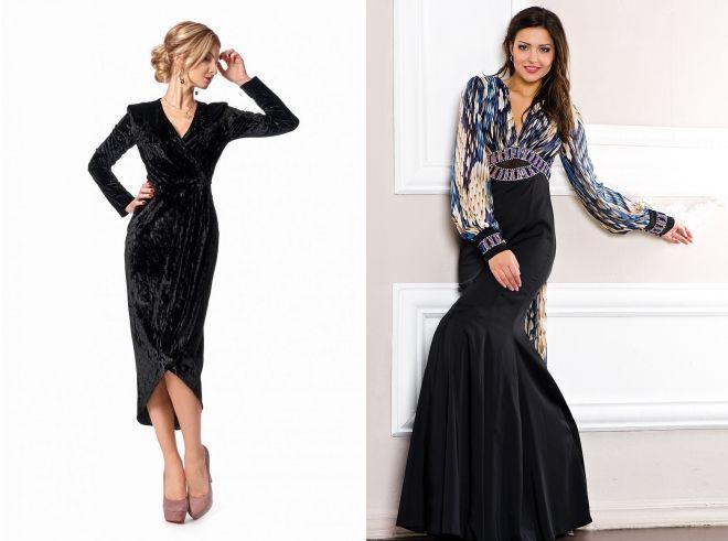 черное вечернее платье с длинным рукавом