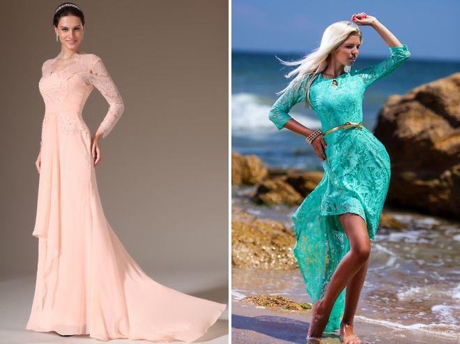 пастельное вечернее платье с длинным рукавом