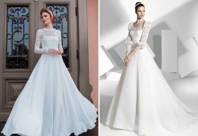 пышные закрытые свадебные платья