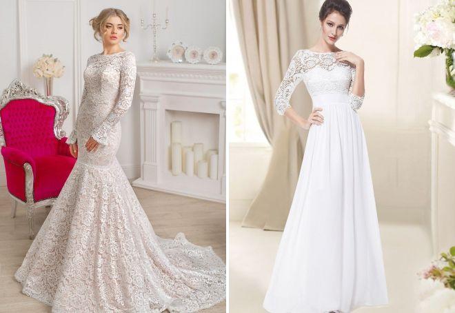 закрытое свадебное платье с кружевом