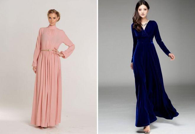 закрытое платье в пол с длинным рукавом