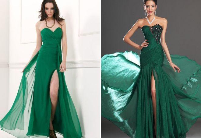 длинные вечерние зеленые платья