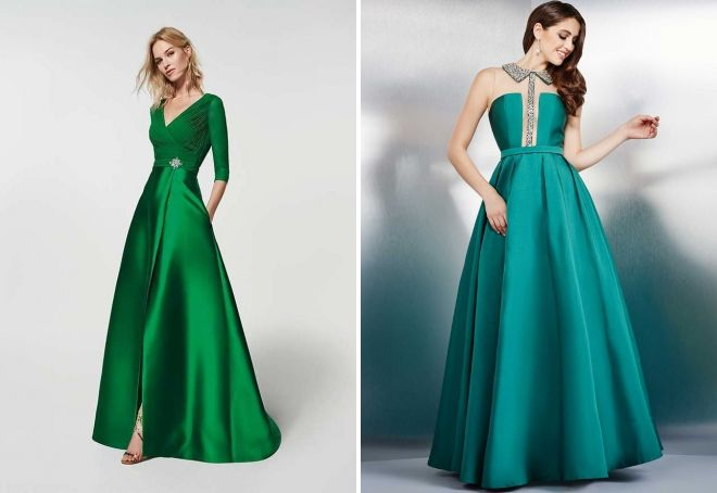 зеленое атласное платье в пол