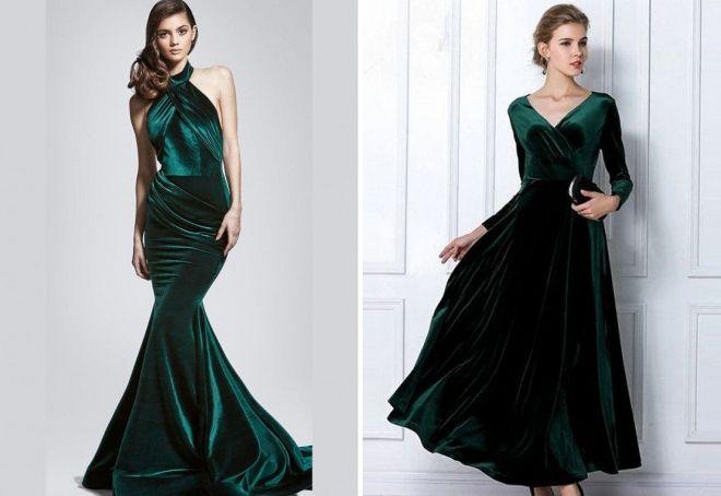 зеленое бархатное платье в пол
