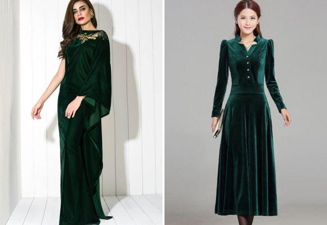 длинное зеленое велюровое платье