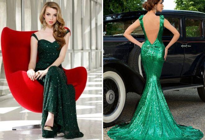длинные платья зеленого цвета