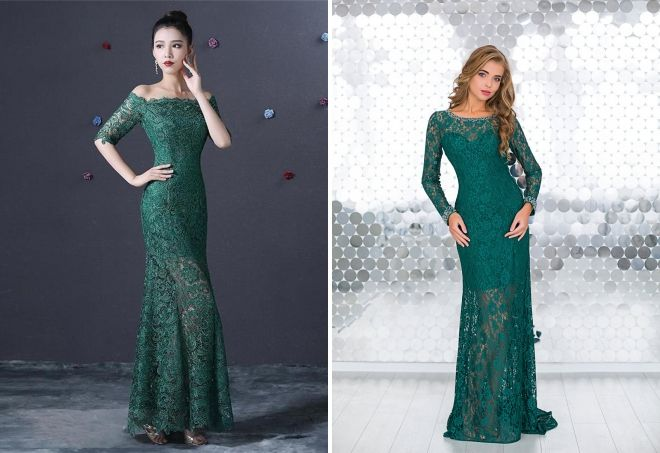 зеленое кружевное платье в пол