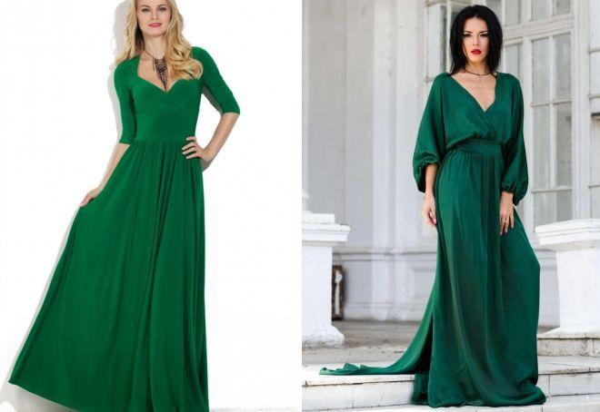зеленое шелковое платье в пол