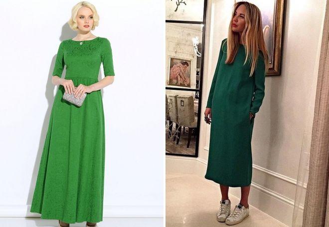 модное зеленое платье в пол