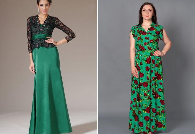 длинное платье в пол зеленого цвета