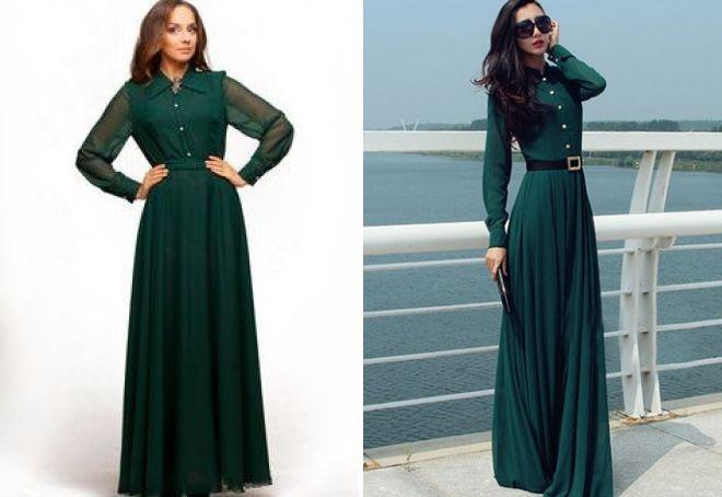 зеленое платье рубашка в пол