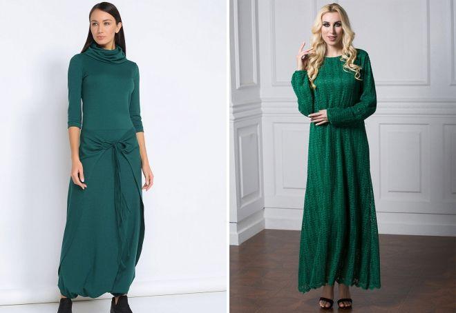 длинное вязаное зеленое платье