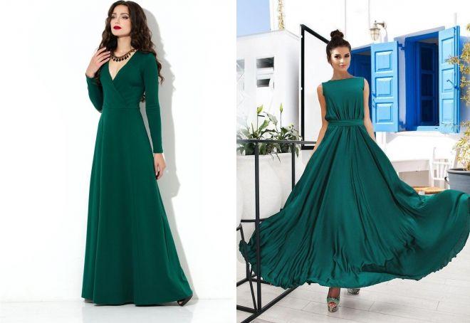 длинное зеленое платье клеш